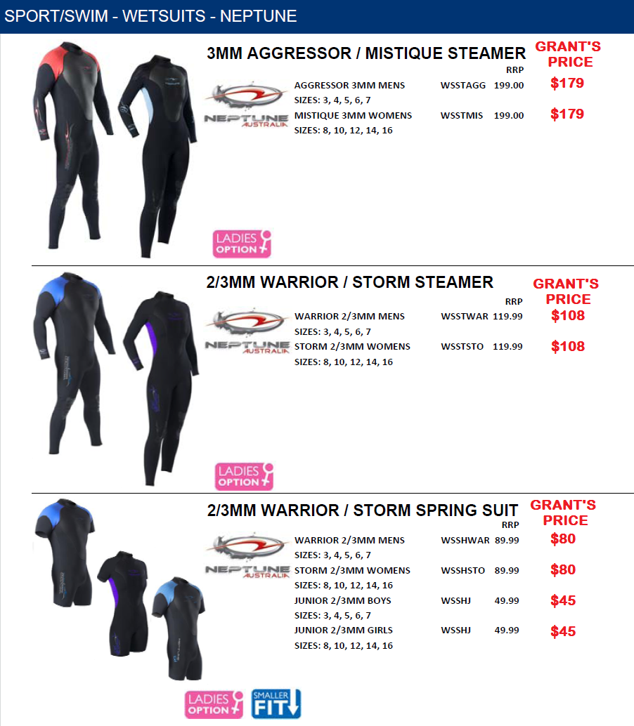 SPORTS/SWIM WETSUITS