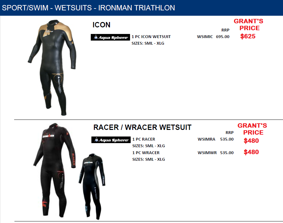 ICON/RACER/WRACER IRONMAN AND TRIATHALON SUITS