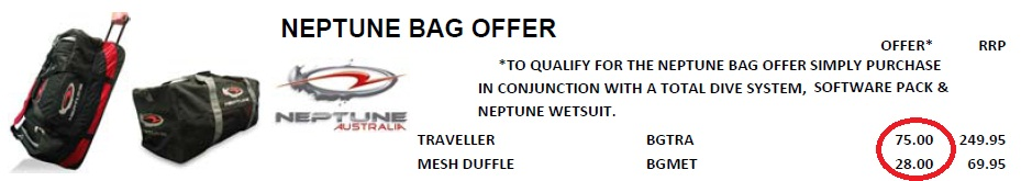 NEPTUNE DIVE BAG OFFER