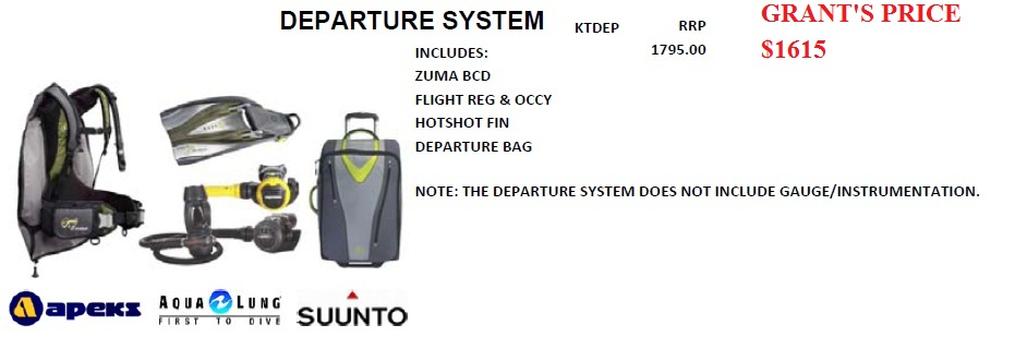 DEPARTURE DIVE SYSTEM - DESIGNED FOR A TRAVELLING DIVER