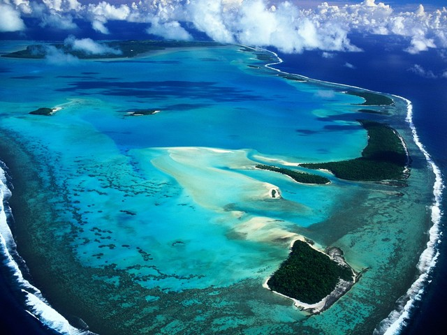 Aerial View of Aitutaki Island