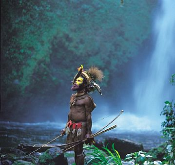 Huli Warrior and Waterfall