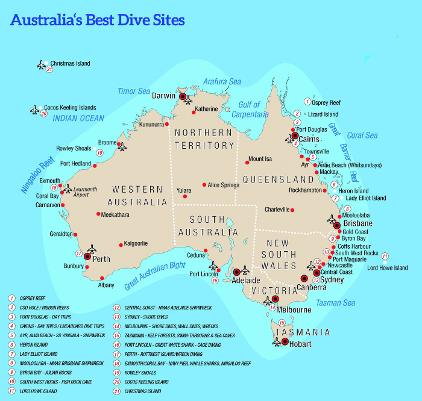 Best Diving In Australia Map